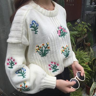 カジュアル 刺繍 長袖 ニット セーター 大人気 全2色◇【春秋冬新作】