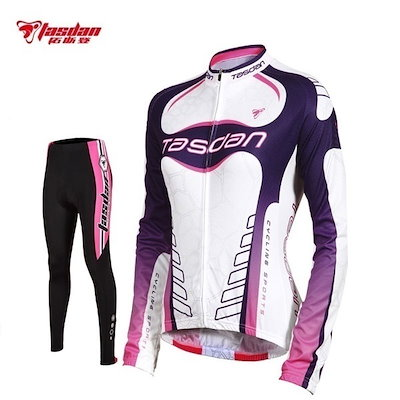 Winter Women s Long Sleeve Fleece Cycling Jersey+Pants Bike Bicycle Wear Clothing