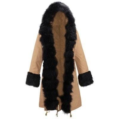 ホットファッション女性レディースフード付き冬暖かい厚いフェイクファーコートパーカーコットンパットコートコートロングアウターウエア