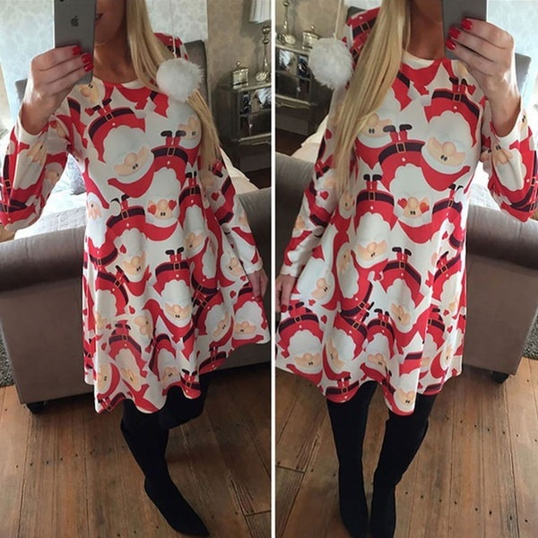 Christmas Mother Daughter Matching Swing Snowman Printed Dress