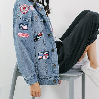 【 一番安い】春秋 韓国風 アウター デニム ショートコート 長袖 ワッペン シンプル スレンダーライン レディーズ女性 カジュアル ファッション 合わせやすい ゆったり