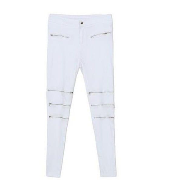ファッションカジュアル女性白パンツミッドウエストボディコンエレガントなセクシーなスキニーペンシルパンツジッパー/ポケットPl
