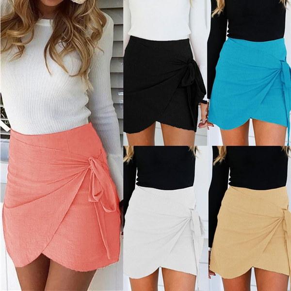 不規則なファッション夏の女の子レディースショーツブライトミニ非対称薄いセクション包帯段落