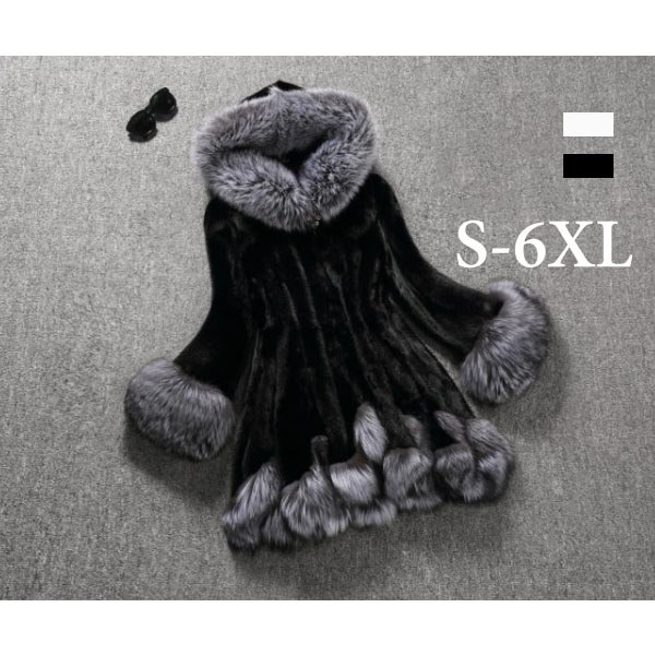 ブラックフライデーレディースファッションウィメンズウォームフード付きコートレディースソフトアウトウェア豪華なフェイクファー毛皮Z