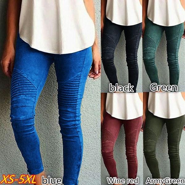 5色9サイズレディースファッションカジュアルタイトフィットの弾性パンツ(XS  -  5XL)