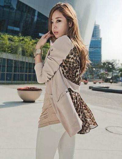 戻る女性Leopardのシフォンスリムスーツのジャケットロングコート