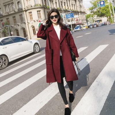 韓国ファッション ラシャコート エレガント 気品  アウター   レディース おしゃなコート スプリングコート  ブラック、ブルゴーニュ