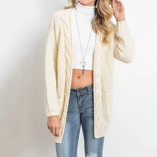 女性のBohoロングスリーブオープンフロントChunkyワームカーディガンポーセレンプルオーバー居心地の良いセーター