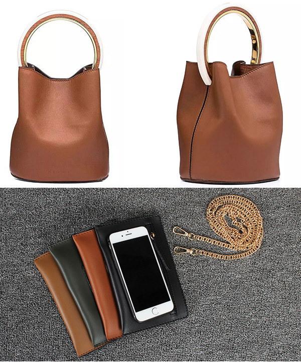 バケツ型 ハンドバッグ 2WAYバッグ ショルダーバッグ ポーチ付き シンプル ミニバッグ カバン 鞄  レディース