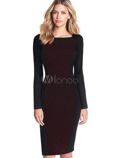 Black Bodycon Dress Chic Cotton Dress