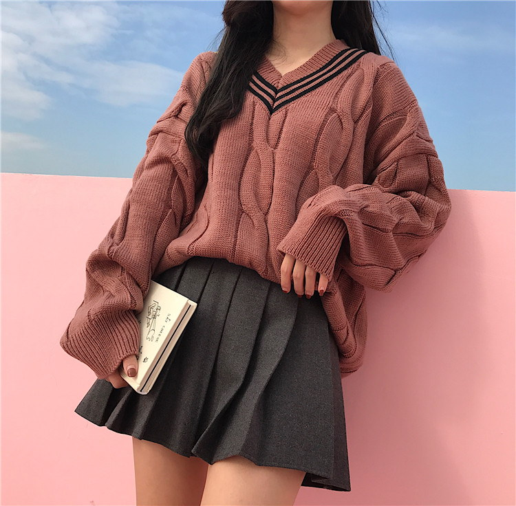 Vネックルーズフィットニット★オーバサイズニット 韓国ファッション 大きいサイズ トップス 体型カバーできる柔らかニットセーター♥ゆったりニットカットソー♥驚きのとろける肌ざわり★クリスマスプレゼント