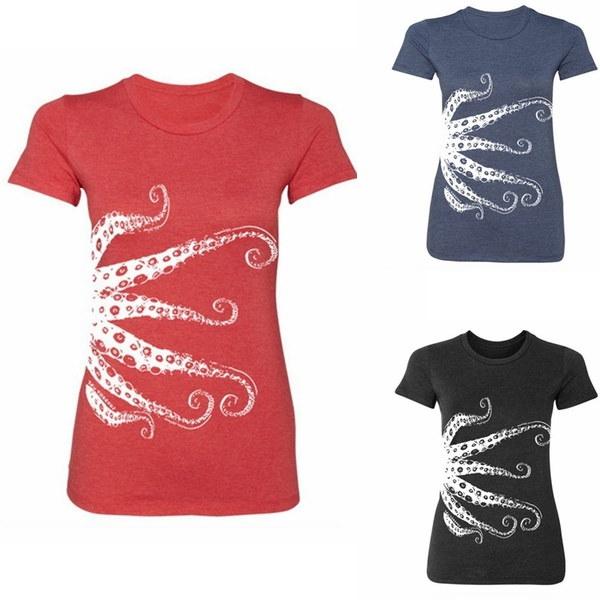 女性ラウンドネックカジュアルTシャツOctopus Printed Tops