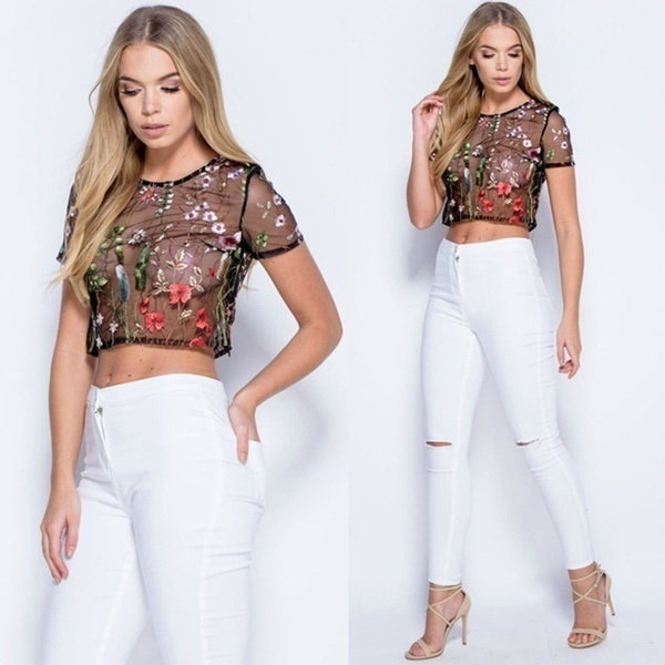 女性の花刺繍中空メッシュTシャツティートップス透明スリムブラウス