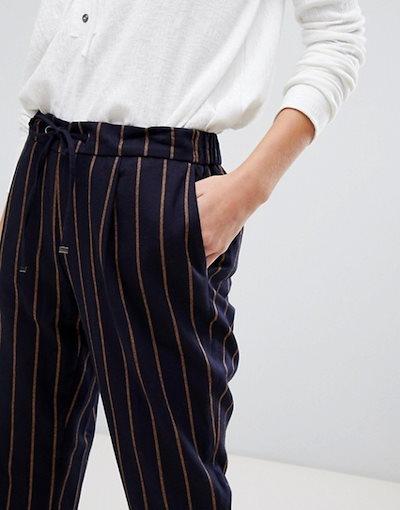 エスプリ レディース カジュアルパンツ ボトムス Esprit drawstring stripe pants in navy and mustard