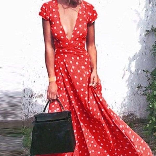 女性の夏のロングドレスセクシーなディープVネックボヘミア花プリントビーチドレス