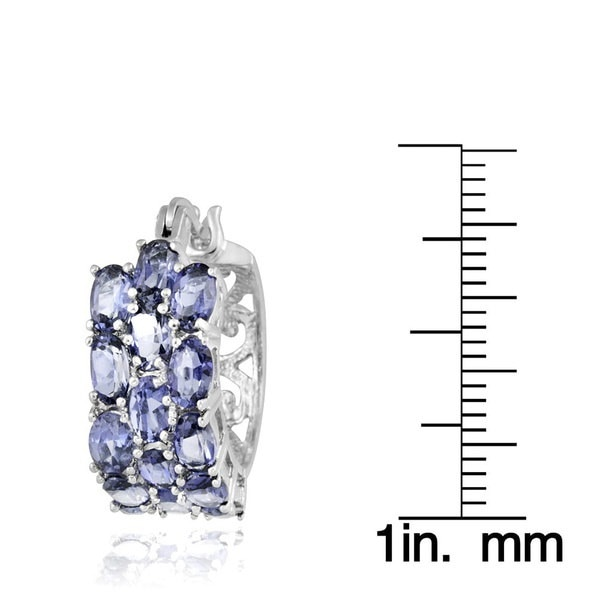Glitzy Rocksスターリングシルバータンザナイト3層フープピアス(サイズ:小、カラー:ホワイト)
