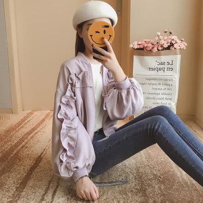 Rinaシリーズ/秋/新しいデザイン/女性服/韓国風/襟/キクラゲなようなエッジ/ルース/野球ユニフォーム/ジャケット