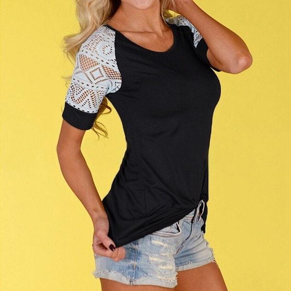 Femmes Damen TシャツKurzarm mit Spitze Tops BluseシャツTunika Hemd Blouse