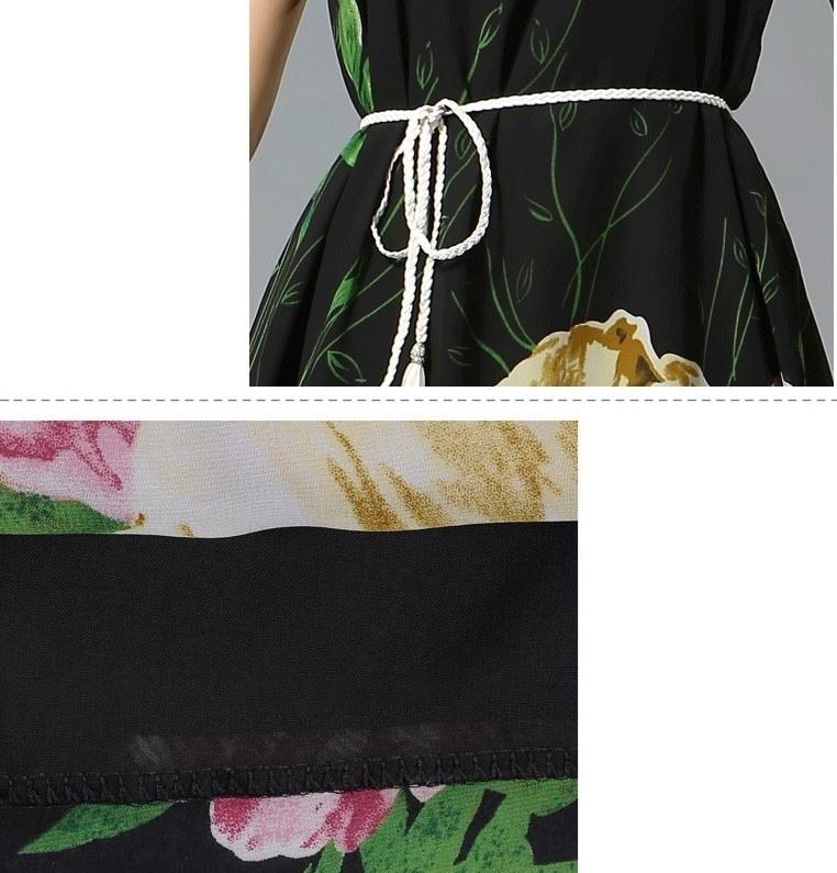シフォン ロング ドレス エレガント ワンピース マキシ丈 ノースリーブ フレア 優雅 サマードレス マキシワンピ 大きな柄 目立つ オフホワイト 黒 ブラック プリント ヨーロピアンスタイル バラ 花柄 韓国 ファッション 韓流 (62-15) ※納期に10日から14日ほどかかります。