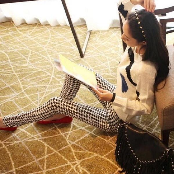Women s Fashion Slim Elastic Houndstooth Geometric Printed Skinny Tights Spring Summer Thin Leggings