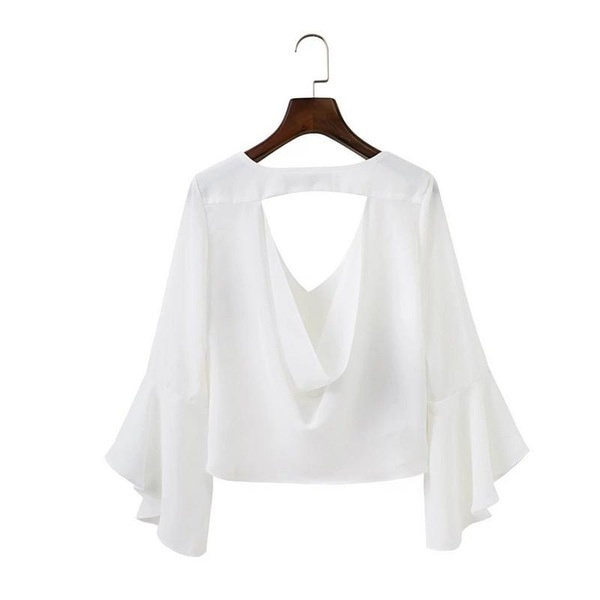 Summer Chiffon Backless Blouse V Neck Embroidery Blouse Shirt Ruffle Short White Blouse Chemise Femm