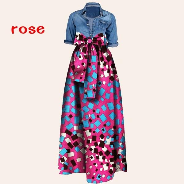 Womens African Print Dashiki Dress Long Maxi A Line Skirt Ball Gown