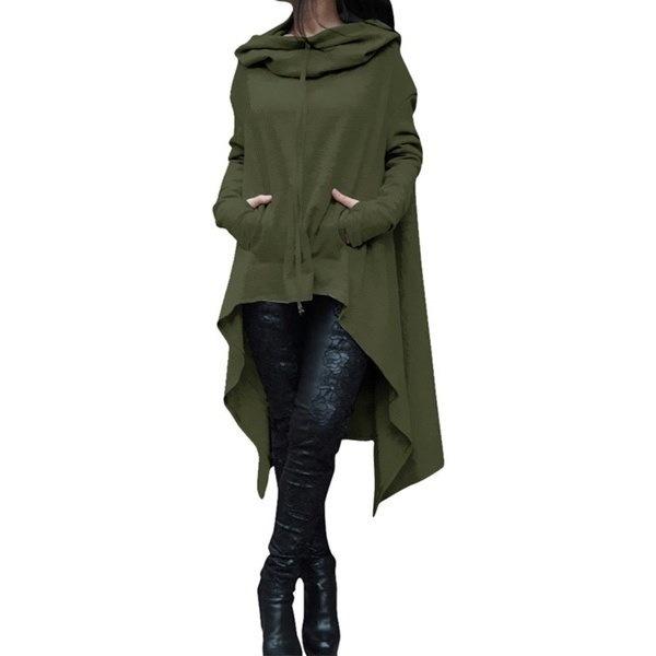 新しい女性ファッションソリッドカラードローコードコートロングスリーブルーズカジュアルポンチョコートフード付きプルオーバーLo