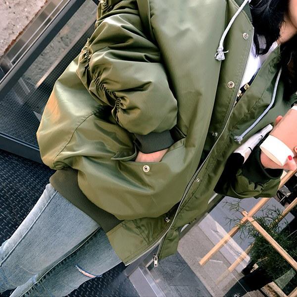 【IMVELY イムブリー公式】シャーリングパイロットジャンパー(カーキ) 1307543/I73JP0005-1 韓国ファッション レディース