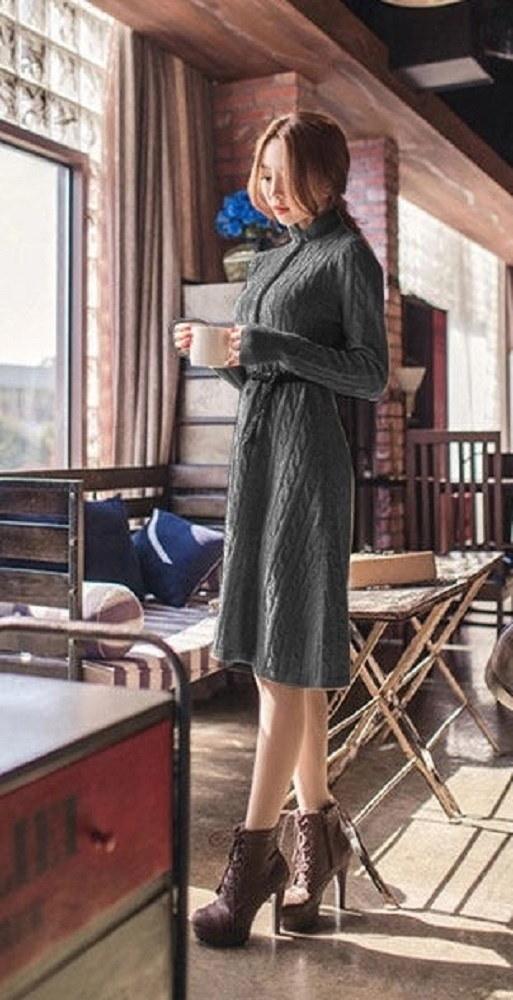 エレガント☆長袖 ニット フレア ワンピース ドレス ハイネック ※納期に10日から14日ほどかかります。