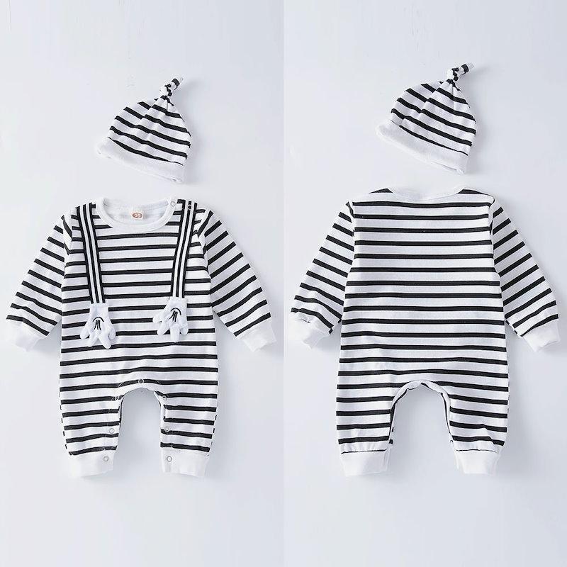 カートン新生児ベビーボーイズガールズロンパージャンプスーツボディスーツ+帽子服装セット