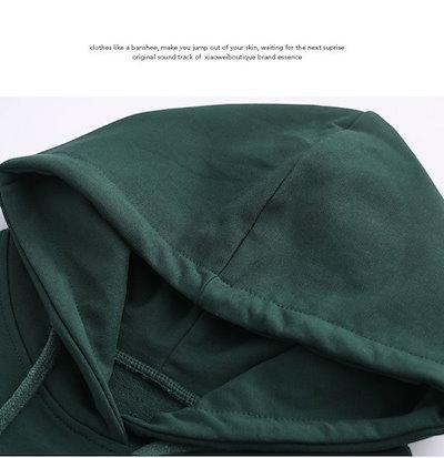 ニコニコドーナツレディス服 女性 ファッション 韓国風 トップス プルオーバー パーカー グリーン ブラック カジュアル ゆらっと 長袖 薄手 パフ袖 フーディー オーバーサイズ シンプル 大きいサイズ ガーリー