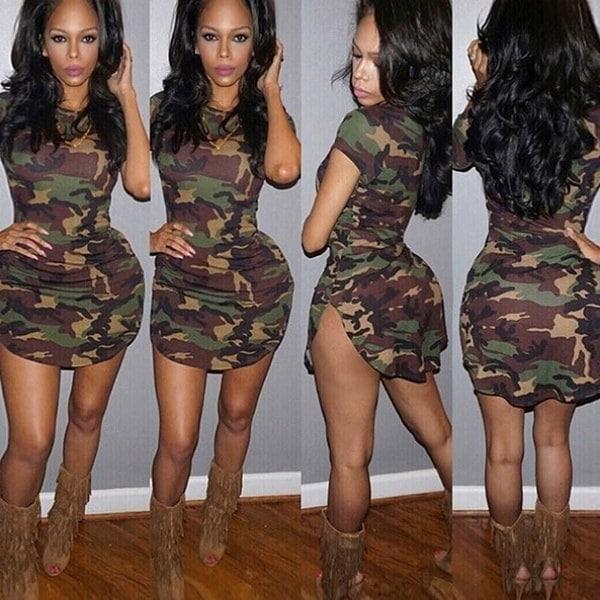 Fashion Women Casual Dress O-neck Camouflage Print Bodycon Slim fit Mini Dress