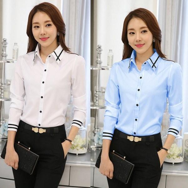 2色春韓国職業スリム女性ストライプロングスリーブホワイトシャツホワイトスカイブルー