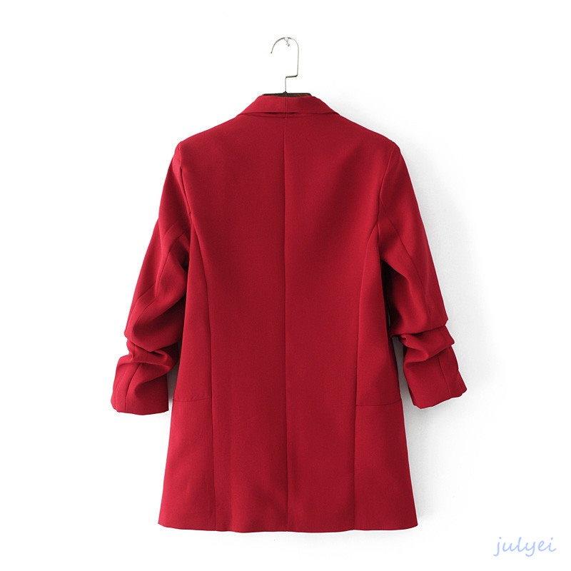 春夏秋欧米風深紅スーツジャケット     カジュアル通勤   ビジネスフォマール   無地スーツブレザー 7分袖