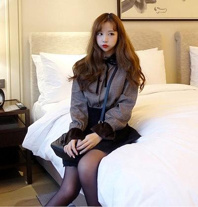 韓国ファッション 春 韓国 上品なチェック柄×キャンディースリーブシャツブラウス