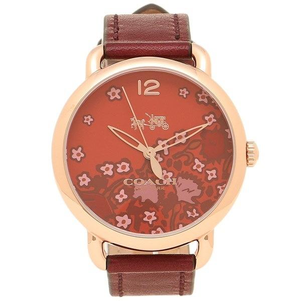 コーチ 時計 COACH 14502730 DELANCEY デランシー フラワー レディース腕時計ウォッチ レッドブラウン/イエローゴールド/レッド