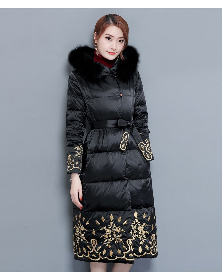 [55555SHOP]ダウンジャケット コート スリム モコモコネック 毛襟 フード付き 韓国風