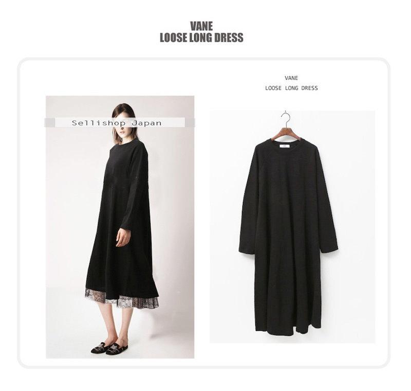 『韓国製』SELLISHOP  Loose long ワンピース --「大きいサイズ 大人 韓国 ファッション・結婚式・フォマール 黒 フレア 30代 40代 50代 スレンダー・Aライン,上品・ロン