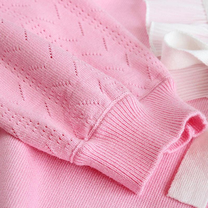 ニットトップス セーター 長袖 プルオーバー クルーネック ラウンドネック フリル リボン レディース キュート ゆったりセーター ニット 女の子 キュート