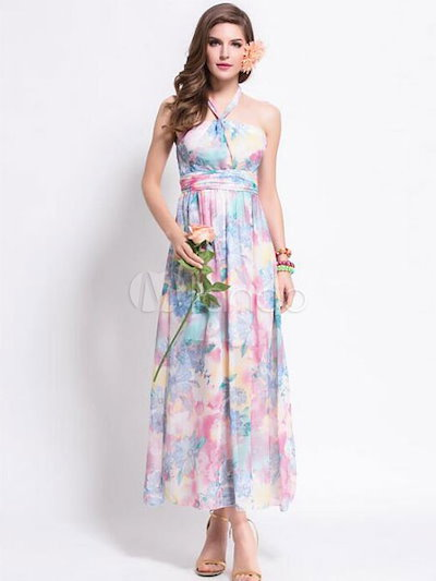 Halter Maxi Dress Multicolor Backless Print Dress