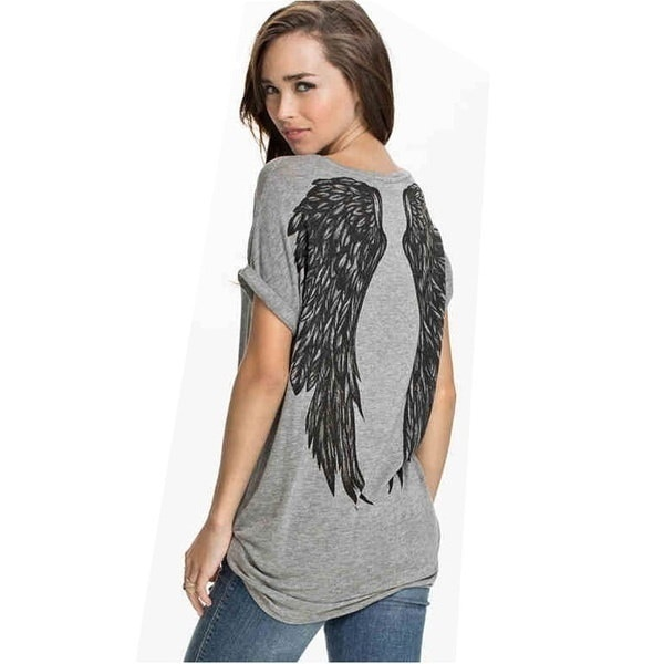 2017 Angel Wings Printed Women s T shirt Short Sleeve O-Neck Tops T-shirt For Female Plus Size Shirt