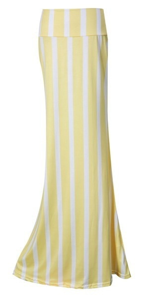 New Womens Ladies Autumn Spring Waist Banded Striped Long Maxi Dress Skirts S-XL