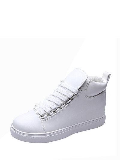 Women s Flat Pumps Faux Leather Lace Up Preppy Flat Shoes
