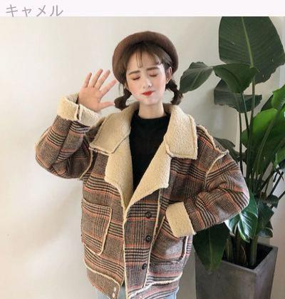 [55555SHOP]秋冬/新しいデザイン/韓国風/ルース/裏起毛/子羊ウール/ラペル/アウターウェア/暖かい/原動力/服/ジャケット/ウールのコート/女
