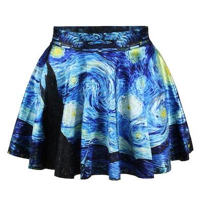 ファッション女性レトロヴィンテージデジタルプリントスターリーナイトジェイクスケータースカート(サイズ:M)