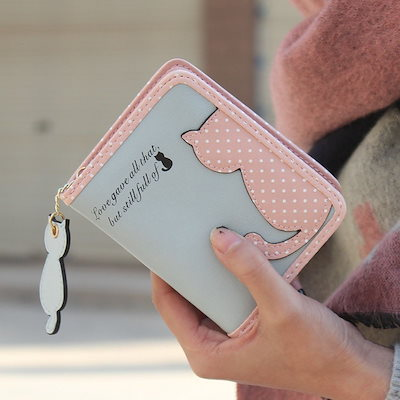 2018ホットな女性ショートデザインの猫の財布かわいいレディース財布バッグPuの革ハンドバッグカードホルダー