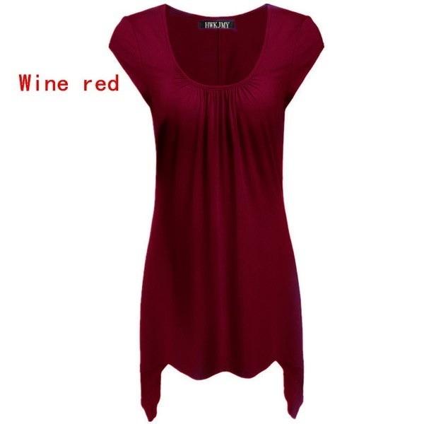 女性のファッション夏の綿のOネック半袖無地の色の不規則なルースプリーツTシャツトップP