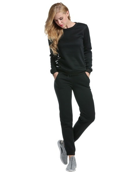Fashion Women Long Sleeve Pullover Hoodie Sets Print 2pcs Casual Sports Outwear Sets with Pants