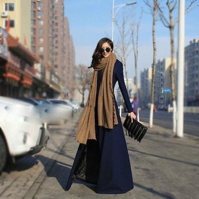 Maxi Long Woolen Coat Slim Winter Jacket Floor-length Outerwear Extra Long Trench Coat For Women
