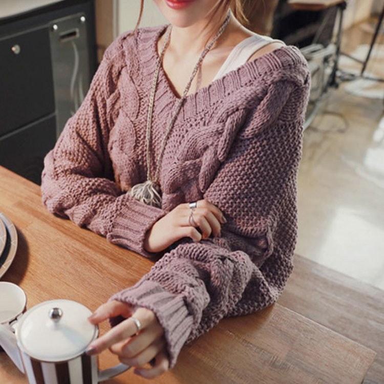ニット セーター ケーブル編み Vネック 長袖 ゆるニット とろみ 新作 秋冬 かわいい 秋物 冬物 秋 冬 レディースファッション ママファッション